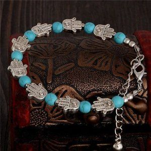 Jewelry - Synthetic Turquoise Bead Palm Bracelet